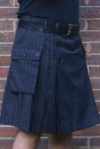 Grey chalk / pin stripe button up kilt