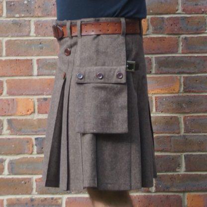 Brown wool suiting kilt