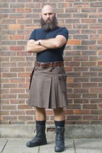 Brown wool suiting kilt