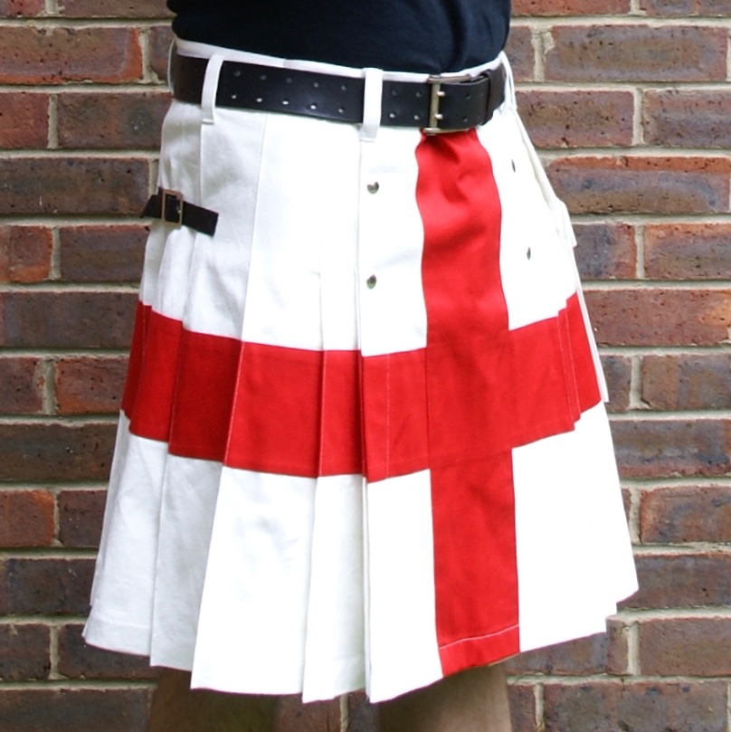 White Wedding Kilt: St George's Cross / English Flag Kilt (in Off-white