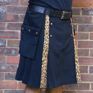 Black and leopard kilt