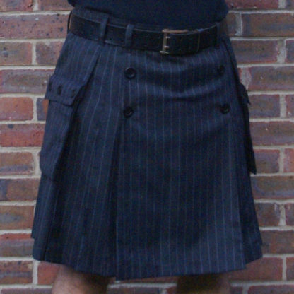 Grey chalk stripe kilt