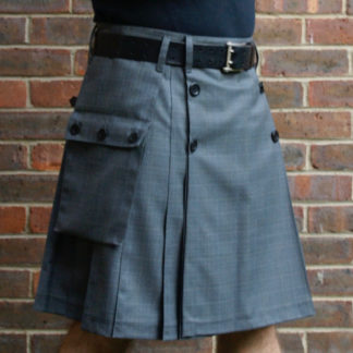 Grey Prince of Wales check button kilt