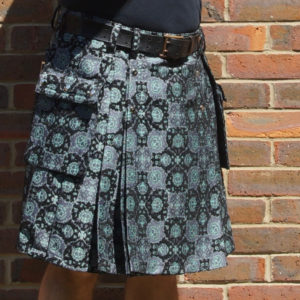 Black and mint brocade kilt